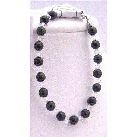 TB648  Mystic Pearls Bracelet w/ Clear Crystals Bracelet Genuine Swarovski Crystals & Pearls Jewlery