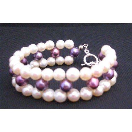 TB660  Superior Quality Freshwater Pearls Bracelet Tripple Strand Bracelet