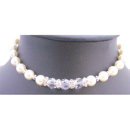TB659  Clear Crystals Cream Pearls Bracelet Swarovski Pearls & Crystals Bracelet