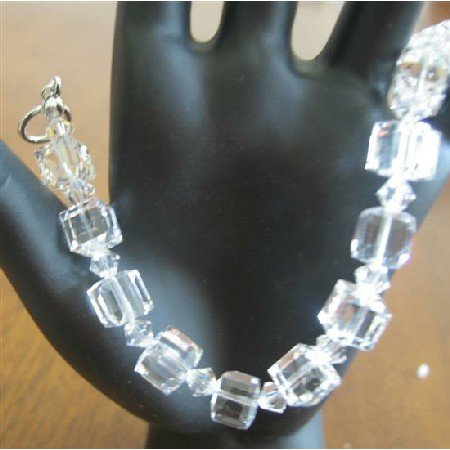 TB609  Clear Crystals Cube Bracelet 8mm Cube w/ Bicone 4mm Clear Swarovski Crystals Bracelet