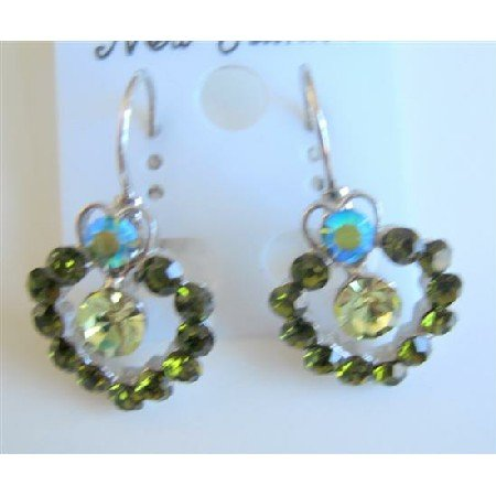 ERC463  Peridot Erinite Crystals Earrings Sparkling Green Crystals Earrings
