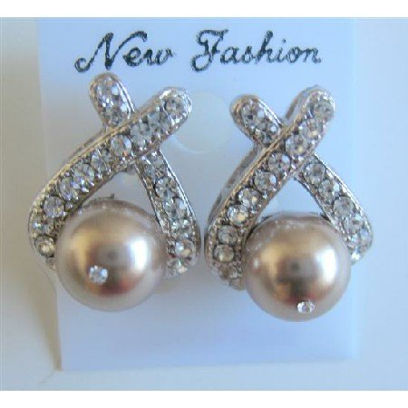 ERC459  Stud Bronze Pearls Earrings w/ Cubic Zircon Pierced Earrings