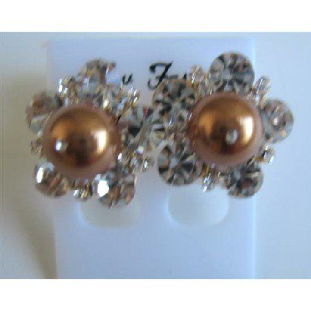 ERC466  Swarovski Copper Pearls Stud Earrings Dressed w/ Cubic Zircon Earrings