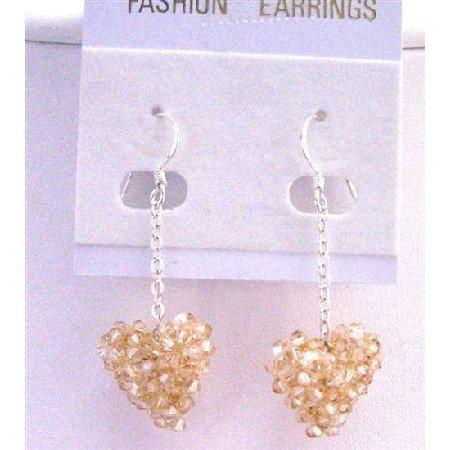 ERC501  Golden Shadow Puffy Heart Earrings Genuine Swarovski Crystals Puffy Heart Earrings