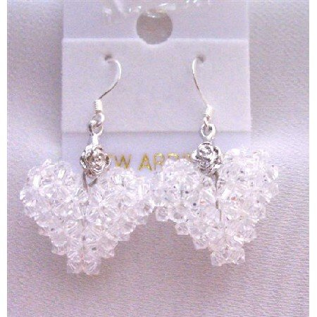 ERC506  Clear Crystals Swarovski Puffy Heart Earrings Very Pure White Earrings