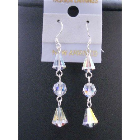 ERC420  Swarovski AB Crystals Round & Cap Beads Genuine Beads Crystals Earrings