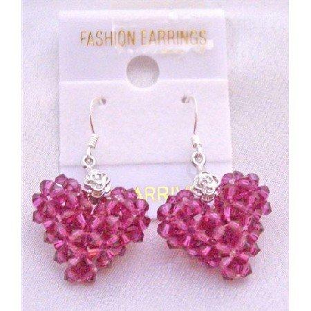 ERC504  Fuschia Swarovski Crystals Puffy Heart Earrings Artist Creation Earrings