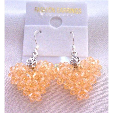 ERC508  Handcrafted Swarovski Peach Crystals Puffy Heart Earrings