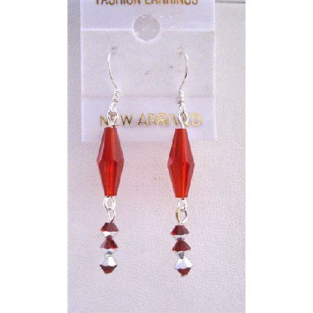 ERC419  Siam Red Crystal Long Bicone(Bicone # 5205)w/ Two Shaded Siam Red Crystals Sterling Silver