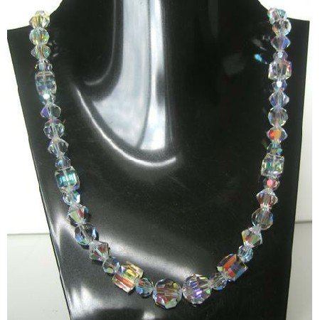 BRD334  Bridal Jewelry Handcrafted Genuine Swarovski AB Crystals Multi Sizes & Shapes Necklace