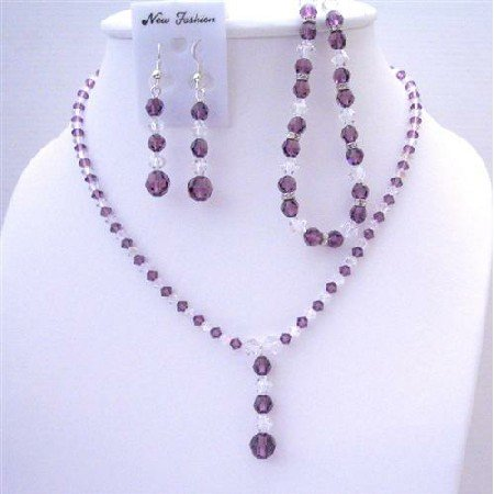 BRD417  Clear Crystals Custom Jewelry Swarovski Amethyst & Clear Crystals Necklace Earrings