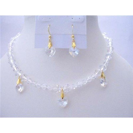 BRD396  Romantic Jewelry Clear Genuine Swarovski Crystals Necklaces Set Moonlite Heart Dangling Set