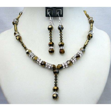 BRD347  Expresso Dorado Crystals Wedding Party Bridal Handcrafted Necklace Set