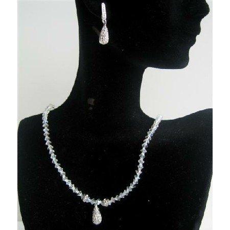 BRD390  Moonlite Swarovski Crystals Rhodium Rondells w/ Cubic Zircon Teardrop Genuine Crystals