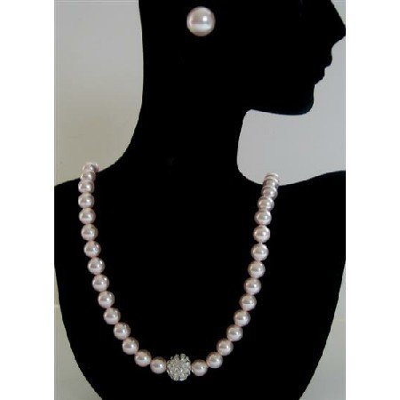 BRD391  Genuine Swarovski Rose Pink Pearls Necklace w/ Cubic Zircon Embedded Pendant & Stud Earrings