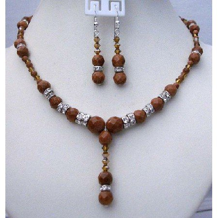 BRD353  Wedding Handmade Jewelry Genuine Swarovsk Satin Topaz & Goldenstone Beads Necklace