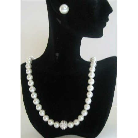 BRD392  Wedding Party Jewelry Genuine Swarovski White Pearls Necklace w/ Cubic Zircon Embedded