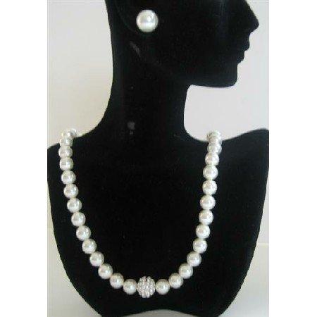 BRD392  Wedding Party Jewelry Genuine Swarovski White Pearls Necklace w/ Cubic Zircon Embedded
