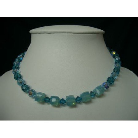 NSC207  Genuine Swarovski Blue Acquamarine Indicolite Crystals Necklace Choker Handcrafted