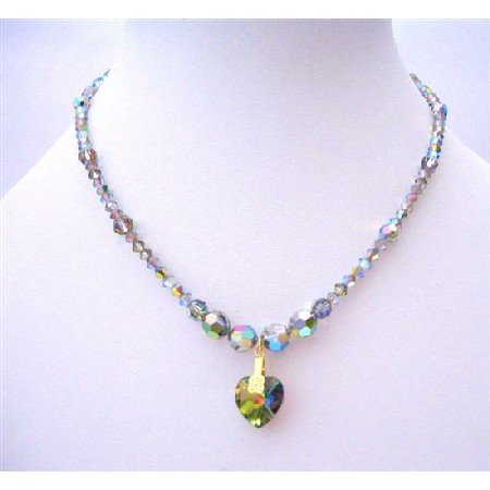 NSC205  Vintage Genuine Vitrail Swarovski Crystals Necklace w/ Heart Necklace Handcrafted