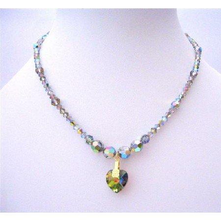NSC205  Vintage Genuine Vitrail Swarovski Crystals Necklace w/ Heart Necklace Handcrafted
