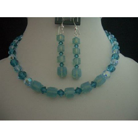 NSC209  Necklace Set Handcrafted Custom Jewelry Genuine Swarovski Blue Acquamarine Indicolite