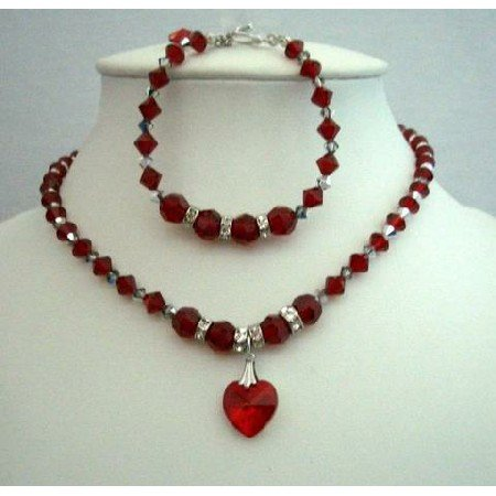 NSC256  Elegant Necklace & Bracelet Genuine Swarovski Siam Red Crystals w/Heart Pendant Necklace