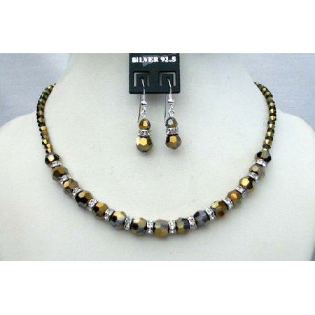 NSC364  Cinnamon Crystals Jewelry Genuine Swarovski Dorado Crystals w/ Silver Rondells Necklace