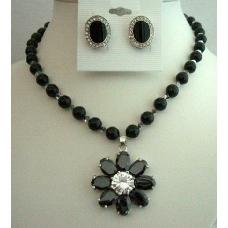 NSC251  Genuine Mystic Handcrafted Jewelry Swarovski Black Pearls Necklace Set w/ Flower Pendant