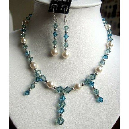 NSC121  Genuine Swarovski Aquamarine Crystals & cream Pearls Necklace Set Handcrafted