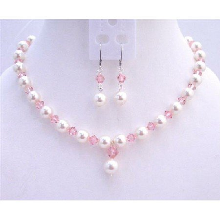 BRD739  Rose Pink Crystals White Pearls Fashionable Jewerlry Set Genuine Swarovski Crystals White
