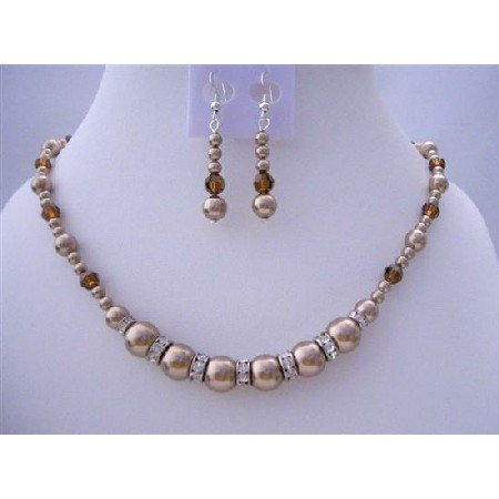 BRD429  Handcrafted Custom Pearls & Swarovski Crystals Bronze Pearls Necklace Set