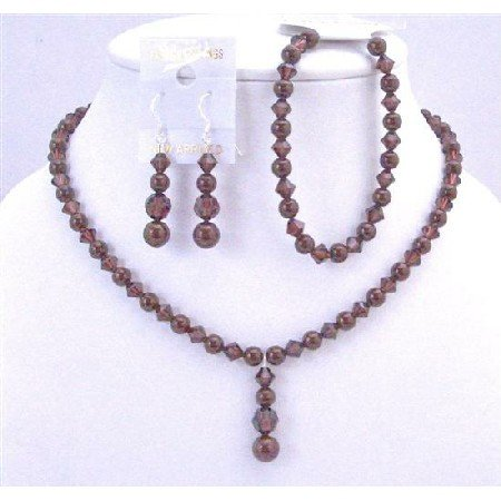 BRD719  Wine Color Bridal Jewelry Set Meroon Pearls Burgundy Crystals Complete Set Handcrafted