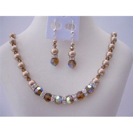 BRD408  Swarovski Smoked AB Topaz Crystals Jewelry Set w/ Genuine Swarovski Bronze Pearls