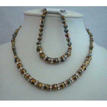 BRD317  Mother Of Bride Necklace & Bracelet AB Dorado Crystals Genuine Swarovsk Dorado Set