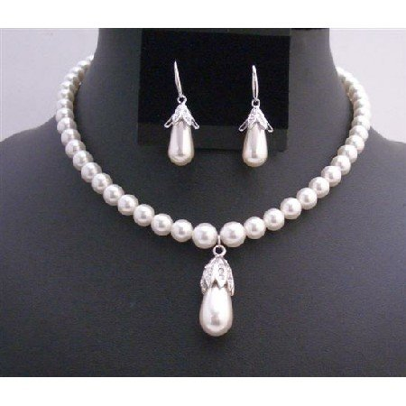 BRD730  Bridal Handcrafted White Pearls w Bridal Jewelry Set 8mm Pearls w/ Teardrop Earrings