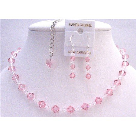 BRD758  Back Drop Heart Bridal Jewelry Set Swarovski Pale Pink Crystals w/ Clear Crystals Necklace