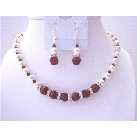 BRD504  White Pearls Swarovski Maroon Crystals 10mm Jewelry Set w/ Silver Rondells