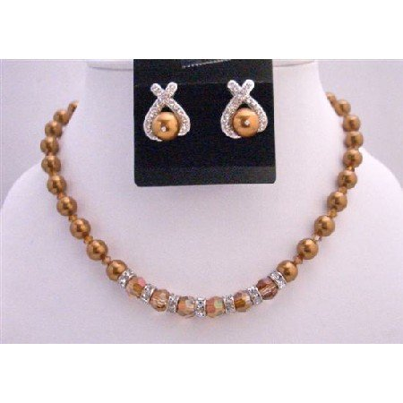BRD723  Copper Pearls Copper Cryystal Jewelry Set Bridal Necklace Set w/ Round Coper Crystals