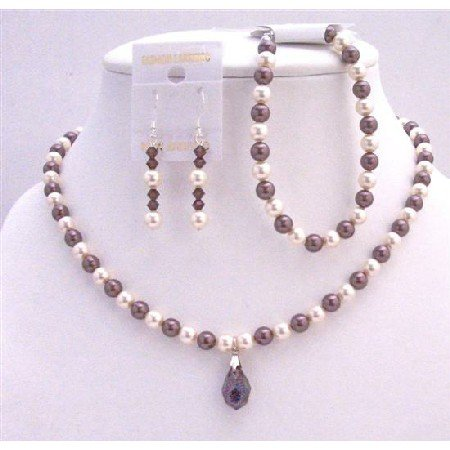 BRD720  Ivory & Burgundy Pearls Bridal Necklace Set Custom Your Wedding Jewelry Genuine Swarovski