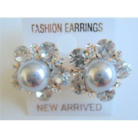 ERC460  Grey Pearls Stud Earrings Surrounded w/ Cubic Zircon Stud Earrings