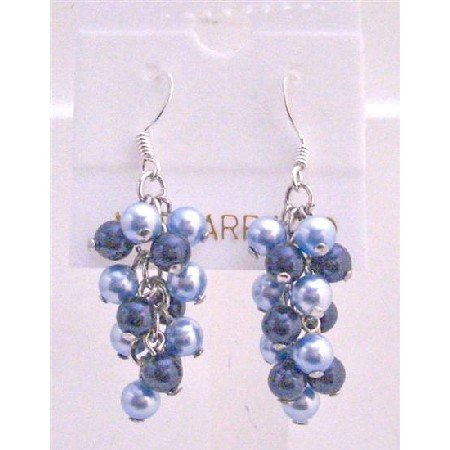 ERC491  Aquamarine Pearls & Dark Blue Pearls Earrings Jewelry Genuine Swarovski Pearls Earrings