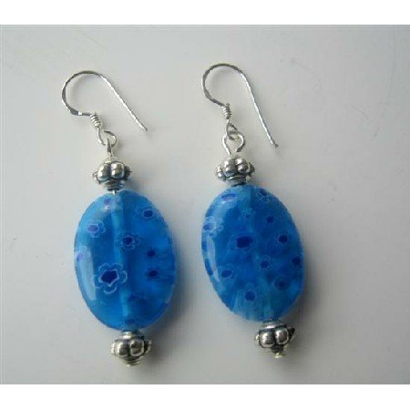 ERC261  Millefiori Bead Oval Shape Earrings w/ Bali Silver Sterling Silver 92.5 Earrings