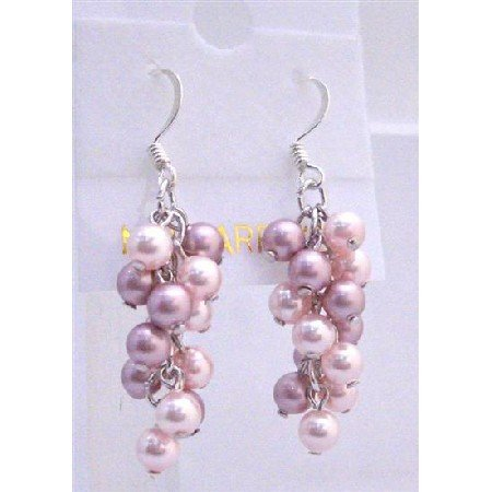 ERC446  Pink Pearls Jewelry Pink Pearls Earrings Grape Style Genuine Swarovski Lite & Dark Rose Pink