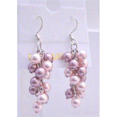 ERC446  Pink Pearls Jewelry Pink Pearls Earrings Grape Style Genuine Swarovski Lite & Dark Rose Pink
