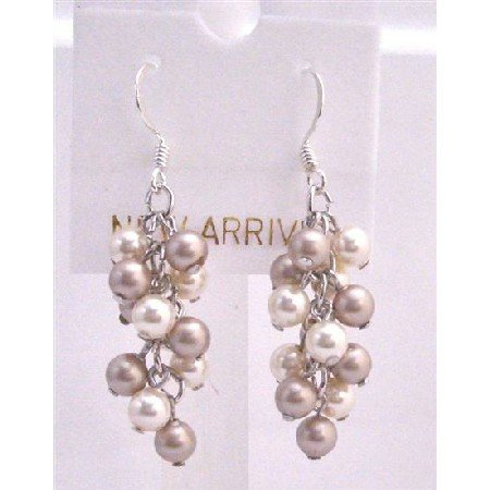ERC453  Ivory Pearls Champagne Pearls Earrings Grape Style Genuine Swarovski Pearls Earrings