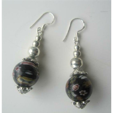 ERC262  Black Round Millefiori Self Designed Bead Earrings w/ Bali Silver Sterling Silver