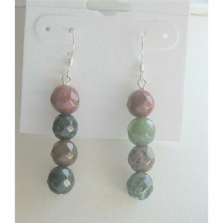 ERC377  Agate Multifaceted Beads Earrings Sterling Silver 92.5 Earrings