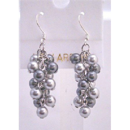ERC450  Grey Pearls Earrings Lite & Dark Grey Pearls Earrings Swarovski Lite & Dark