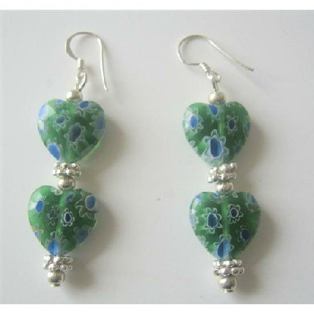 ERC294  Millefiori Heart Earrings Designed Bead Earrings w/ Bali Silver Sterling Silver Earrings